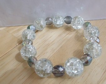 Stretch  Bracelet with Clear Crack Crystal Beads