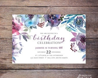 Birthday Invitation Watercolor Floral Birthday Invite Milestone Birthday Printable or PRINTED – Jasmine