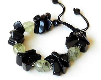 Black Obsidian Bracelet with Green Rutilated Quartz