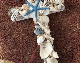 Seashell Cross on Reclaimed Wood/Beach Wedding Cross/Seashell Home Decor