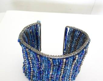 Blue Bead Cuff - Wire - Wide Bracelet - Handmade Bead Cuff - Blue Beads - Silver Beads - Adjustable