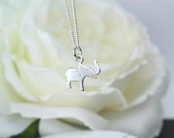 Sterling Silver Elephant Necklace, Silver Elephant Charm, Silver Elephant Pendant,