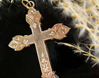 Victorian Antique Cross Pendant, Goldfilled Deep Etched Design, Two Textured Gold Finish, Religious Christian Catholic Pendant, 7 Grams