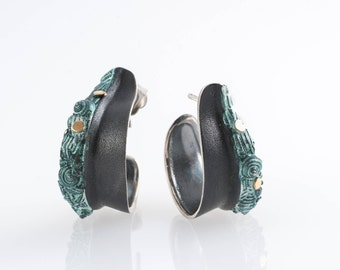 Black silver hoops-18k gold trim-Green earrings-Nature earrings-Fossil hoops-Unique-Gift for Her