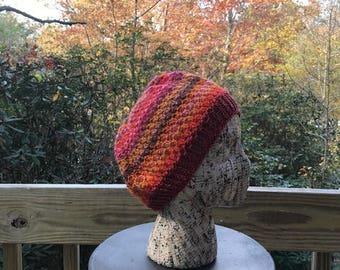 Orange Multi-Striped Handknit Hat