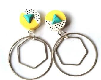 Turquoise Geometric Hoop Earrings Scandinavian Modern Statement Hoops FREE UK SHIPPING