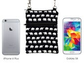 Elephant Travel Purse, iPhone 8 Plus Sling Purse, Galaxy S8 Phone Shoulder Bag, Phone Cross Bodybag - white elephants marching in black