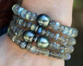 Labradorite Bracelet, Pearl Bracelets, Tahitian Pearl, Beaded Bracelets, Crystal Bracelets, Set of Four Bracelets, Labradorite, Stackable