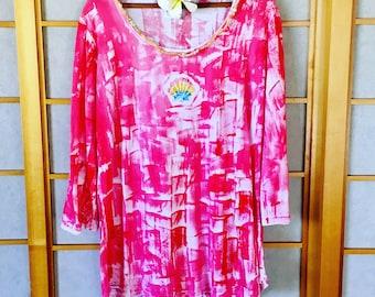 Handmade Hawaiian - Plus Size Top - Hawaiian Handmade - Cotton Tunic - Woman Tunic Top - Hand Painted T Shirt - 3/4 length sleeve