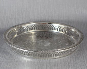Silver Plated Round Large Serving Drinks Tray Plated Ornate Etched Floral Pattern