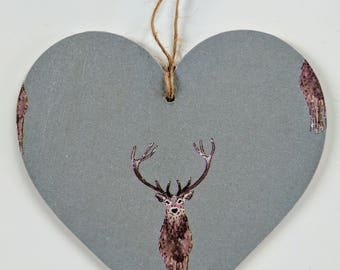 Wooden Hanging Heart in Sophie Allport Highland Stag