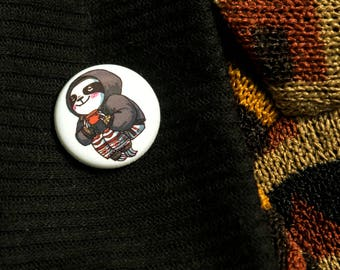 BUTTON — Sleepy tea sloth, pinback badge