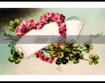 Instant Digital Download, Vintage Antique Graphic, Heart Rose & Clovers Label, Valentine, St. Patrick's Day, Wedding Place Card, Scrapbook