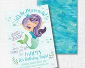 Mermaid Birthday Party Invitation, Printable, Under The Sea Invite, Splish Splash Bash, Aqua, Purple, Watercolor, Pool, Beach