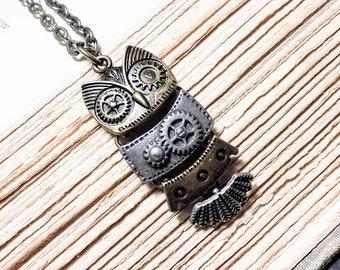 Clockwork Owl Necklace