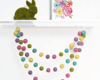 Felt Ball Garland Easter, Pom Pom Garland Spring, Easter Decor, Easter Garland, Kids Room Garland, Playroom Garland, Spring Decoration
