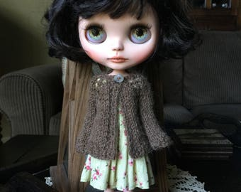 Blythe Doll Knitted Alpaca Cardigan - Heathered Brown