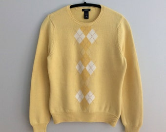 Vintage 90s IZOD Argyle Yellow Cotton Sweater Golf Jumper Womens Medium