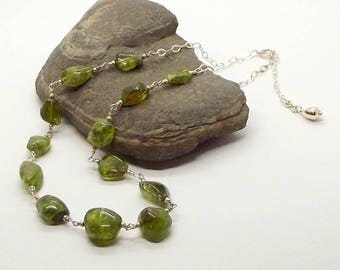 Peridot Nugget Necklace- Sterling Silver Linked Peridot Gemstone Necklace with Extender-  Free Shipping!Sterling Silver