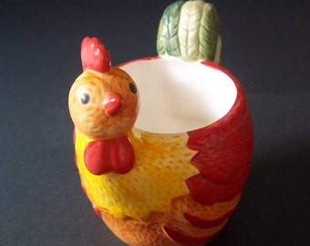 Rooster Candle Holder - Miniature Planter - Vintage Country Kitchen - Shabby Farmhouse Home Decor