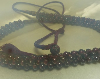 """Genuine Garnet Chinese Torsade Necklace 42 grams, Extends to 26""""-each bead about 4mm-6mm wide 1942"""