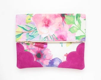 Flower clutch bag. Fold over clutch. Leather handbag. Statement purse. Tropical print fabric. Pink suede leather handbag /TROPICANA 30