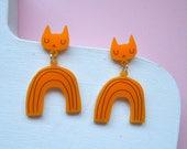 Yellow Rainbow Cat Earrings - Cat earrings - Rainbow Earrings - Yellow Cat - Acrylic jewellery - Laser cut jewellery - Cat jewellery - Cats