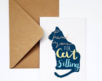 Thank You Card, Animal Card,Pet Card,Cat Thank You Card, Pet-sitter Card,Cat-sitter Card,Veterinarian Card,Cat Trainer,From the cat