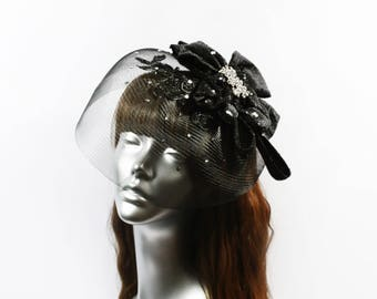 Bow Fascinator, Black Headpiece with Swarovski® crystals, Lace Fascinator, Veil Headpiece, Couture Headdress, Melbourne Cup Gothic Hat