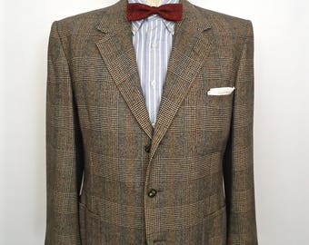 1950s-60s Glen Plaid Wool Sport Coat / vintage Timely Clothes gray brown Prince-of-Wales plaid pattern 3-button suit jacket / men's