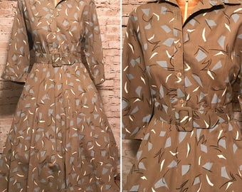 Vintage 1980s American Shirt Dress // 80s Geometric Print Belted Dress // size small S