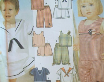 Toddler's Sailor Suit Sun Top & Shorts Easy to Sew Simplicity Pattern 5982 Uncut Pattern Sizes 1/2, 1, 2, 3, 4