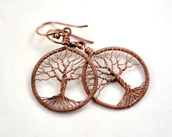 Copper Tree of life Earrings Round Wire Wrapped Earrings Rustic Earrings Woodland jewelry Universal gift Her Anniversary gift Diameter 1.3""