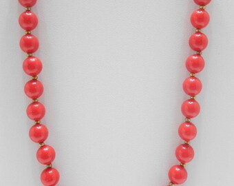 """Vintage 18"""" Red Plastic Beaded Necklace (7521) 10mm"""