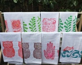 Handmade One of a Kind Block Printed Tea Towels
