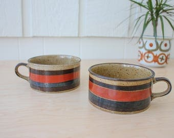 Vintage stoneware extra large soup mugs with orange blue and brown stripes set of 2