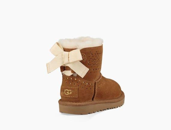 Custom Toddler Baby girl UGG Boots Short Mini Bow Children Crib w/ Swarovski Crystal Rhinestone Jewel Heel tag Bling by Glass Slippers