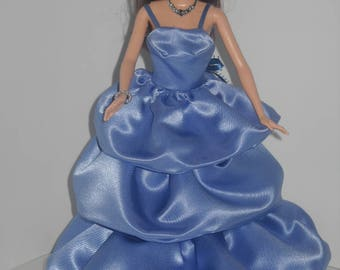 Barbie Blue Satin Evening Gownds with Accessories Choice of 3 Styles