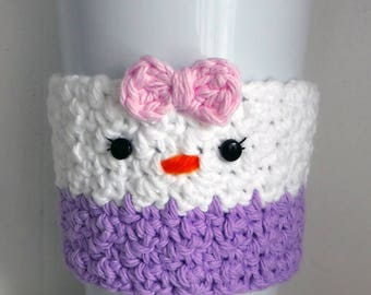 Crochet Daisy Duck Coffee Cup Cozy