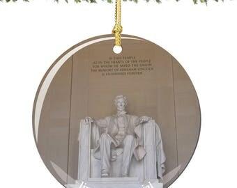 Lincoln Memorial Christmas Ornament, Porcelain Double Sided 2.75 Inch Washington DC Christmas Ornament