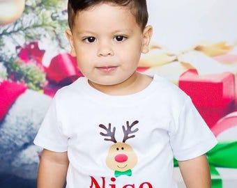 Personalized Reindeer Shirt - Custom Christmas Shirt - Boys shirt - Girls Shirt - Toddlers Shirts - Christmas Gift - Children Holiday Gift