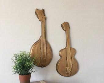 Cast Aluminum Wall Art, Vintage Violin and Mandolin, Mid Century Kitsch Decor, Metal Wall Hanging, Copyright Hoda Lobaco 1968, Music Lover
