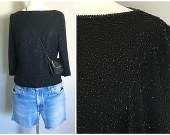 Vintage BLACK BEADED TOP/ Silk Beaded Blouse/ Size Small-Medium