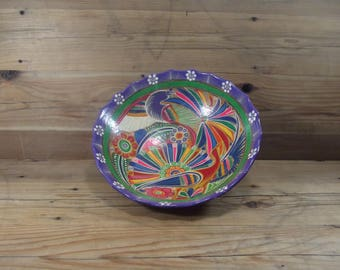 Mexican Hand painted Clay Large Bohemian Bowl