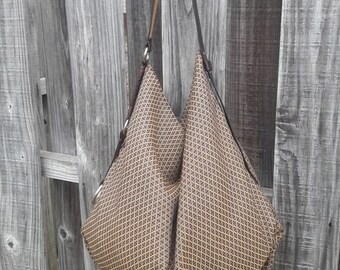 Print Fabric/ Hobo Bag w/ Braided Leather Strap Detail