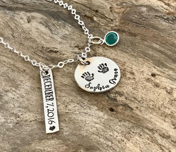 Baby Name Necklace - New Mom Gift idea - Baby shower gift - Personalized Mommy Necklace - Sterling Silver - New Mom Gift - Hand Stamped