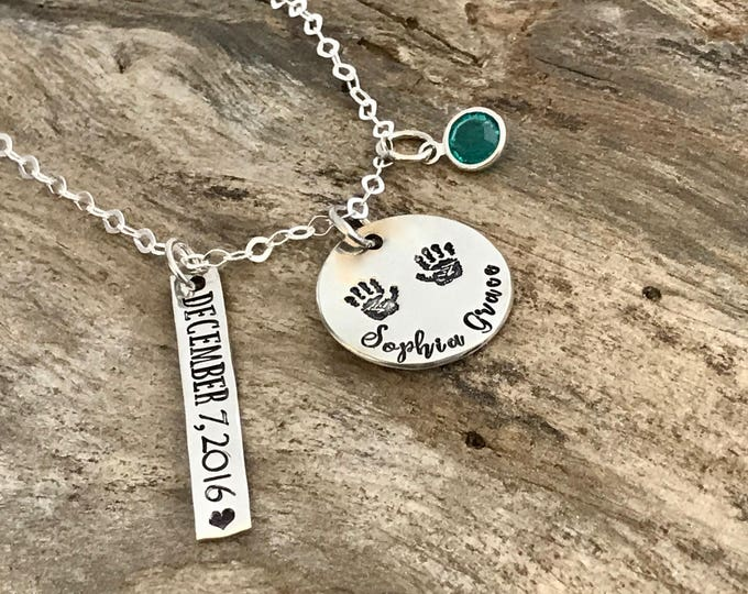 Name necklace with birthstone | Mother necklace | Sterling Silver | Childs birthdate necklace | Name Jewelry | Gift for first time mother