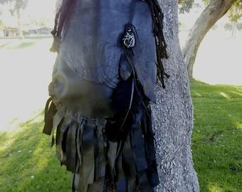 Handcrafted Black Leather Fringe Bag