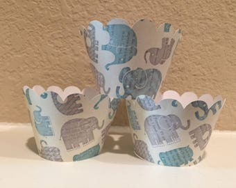 Elephant Cupcake Wrappers set of 12 Ready to Ship
