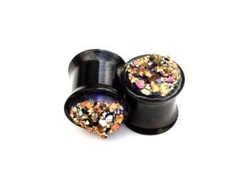 1 Pair Black Steel Flesh Tunnels, Druzy Ear Plugs, Double Flared Steel, Druzy Plugs, Druzy Earplugs, Faux Gemstone Plugs